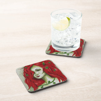 Ivy Nymph Cute Redhead Woman Portrait Fantasy Art Drink Coaster
