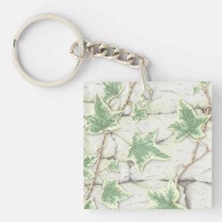 Ivy on a Dry Stone Wall in Pencil Acrylic Key Ring