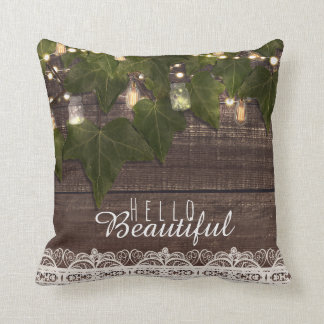 Ivy & String Lights Mason Jar Rustic Farmhouse Cushion