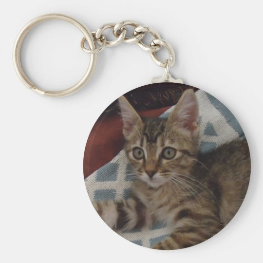 Ivy the tabby kitten basic round button key ring
