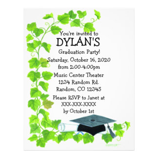 Ivy theme graduation party flyer invitations