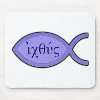 IXOYE Christian Fish Symbol - Blue Parchment Mouse Pad