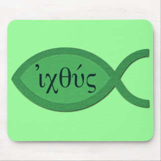 IXOYE Christian Fish Symbol - Green Parchment Mouse Pad