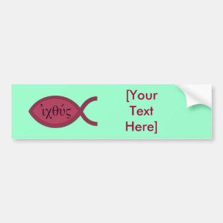 IXOYE Christian Fish Symbol - Red Parchment Car Bumper Sticker
