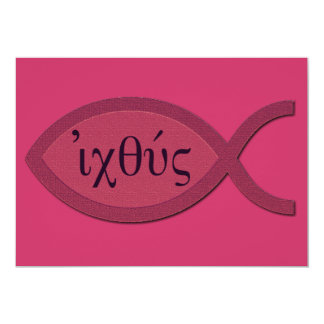 IXOYE Christian Fish Symbol - Red Parchment 5x7 Paper Invitation Card