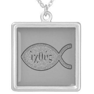 IXOYE Christian Fish Symbol - Stone Effect Silver Plated Necklace