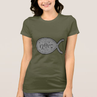 IXOYE Christian Fish Symbol - Stone Effect T-Shirt