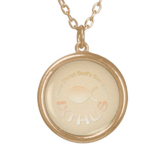IXTHUS Christian Fish Symbol - GOLD Gold Plated Necklace