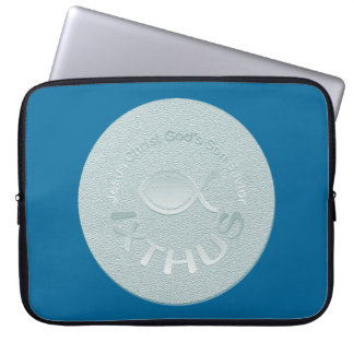 IXTHUS Christian Fish Symbol - SILVER Laptop Sleeve