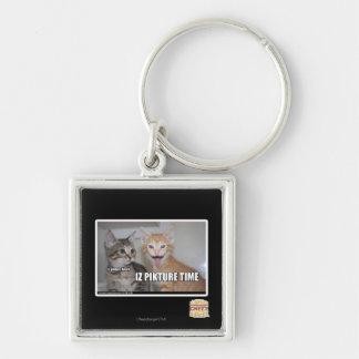 iz pikture time Silver-Colored square key ring
