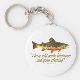 Izaak Walton Fishing Quote Basic Round Button Key Ring