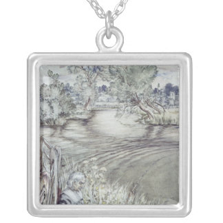 Izaak Walton reclining against a Fence Silver Plated Necklace