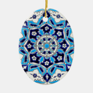 İznik Blue and white flowers ceramics tile Christmas Ornament