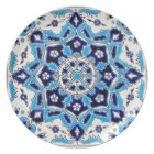 İznik Blue and white flowers ceramics tile Plate