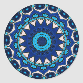 Iznik blue, white, and turquoise tile, Turkey, Round Sticker