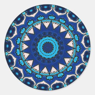 Iznik blue, white, and turquoise tile, Turkey, Round Sticker
