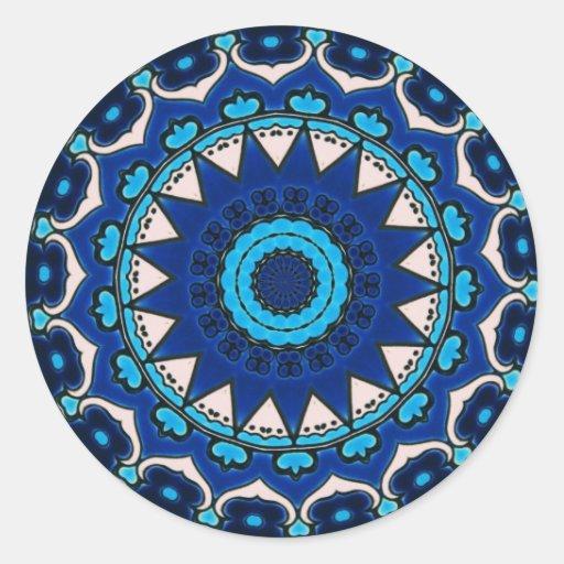 Iznik blue, white, and turquoise tile, Turkey, Round Stickers