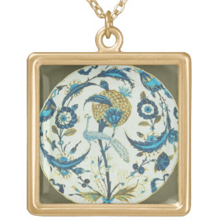 Iznik dish painted with a peacock perched among fl square pendant necklace