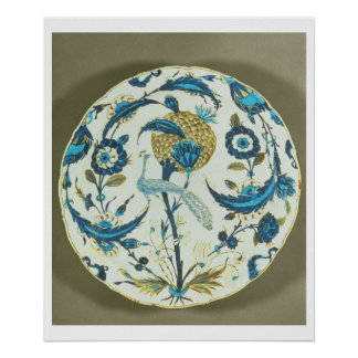 Iznik dish painted with a peacock perched among fl poster