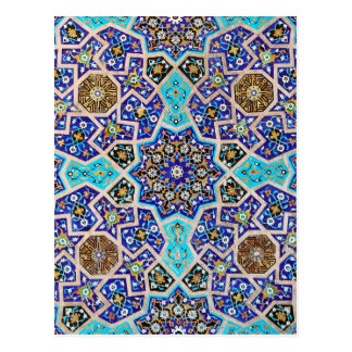 Iznik Floral Ethnic Tribal Turkish Mosaic Pottery Postcard