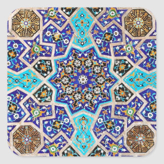 Iznik Floral Ethnic Tribal Turkish Mosaic Pottery Square Sticker