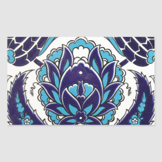 Iznik Floral Ethnic Tribal Turkish Mosaic Pottery Rectangular Stickers