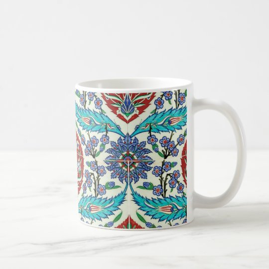 Iznik Turkish Floral Tile Pattern Coffee Mug