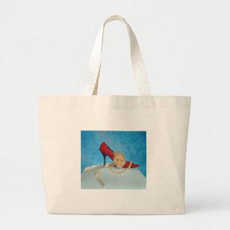 Izzy red heel canvas bag