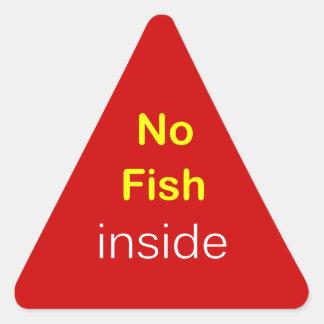 j3 - Food Label ~ NO FISH INSIDE. Triangle Stickers