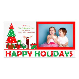 J3 Happy Holiday Reindeer Red Xmas Photo Card