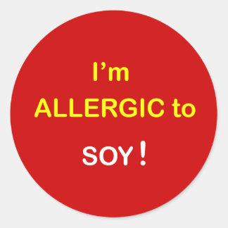 j5 - I'm Allergic - SOY. Round Sticker