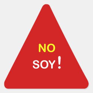 j6 - Food Alert ~ NO SOY. Triangle Sticker