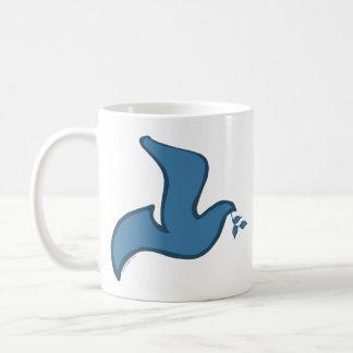 J - Blue Silhouette Dove of Peace Coffee Mugs