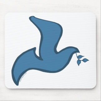 J - Blue Silhouette Dove of Peace Mousepads