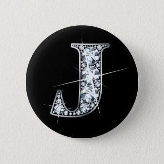 """J"" Diamond Bling Button"