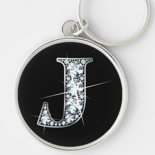 """J"" Diamond Bling Keychain"
