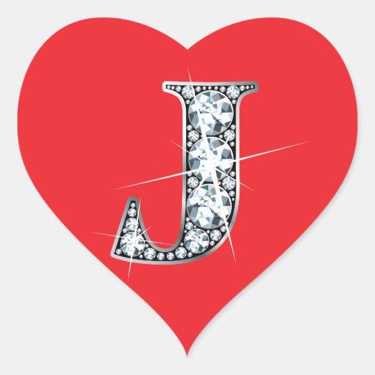 """""""J"""" Diamond Bling on Red Heart Sticker"""