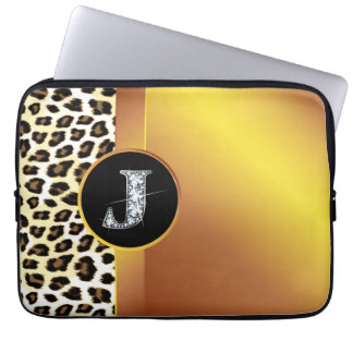 "J ""Diamond"" Gold Leopard & Ribbon Electronics Ba Laptop Sleeve"