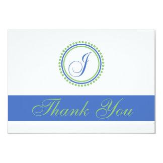 J Dot Circle Monogam Thank You Cards (Blue / Mint) 9 Cm X 13 Cm Invitation Card