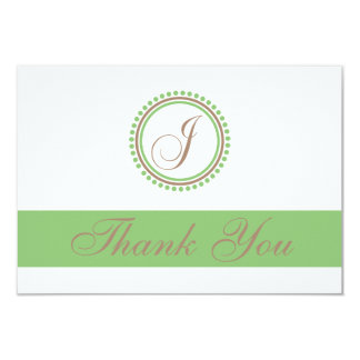 "J Dot Circle Monogam Thank You Cards (Brown/Mint) 3.5"" X 5"" Invitation Card"