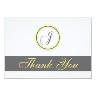"J Dot Circle Monogam Thank You Cards (Yellow/Gray) 3.5"" X 5"" Invitation Card"