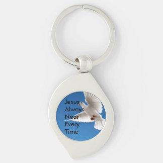 (J)esus(A)lways(N)ear(E)very(T)ime Silver-Colored Swirl Key Ring