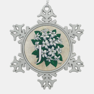 J for Jasmine Flower Monogram Snowflake Pewter Christmas Ornament