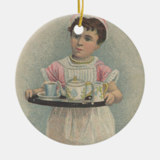J.H. Crane Furniture Young Girl with Serving Tray Christmas Ornament