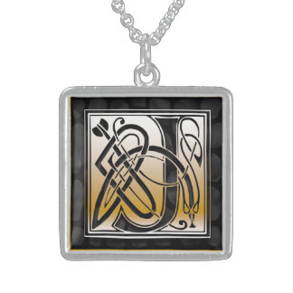 "J Initial Monogram ""Celtic Black Stone"" Necklaces Personalized Necklace"