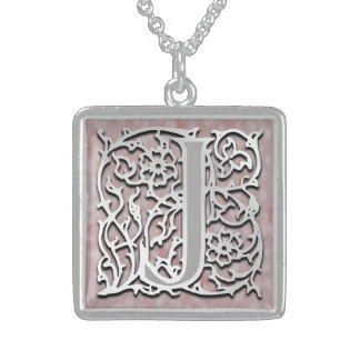 """J Initial Monogram """"Silver Stone"""" Necklace Personalized Necklace"""