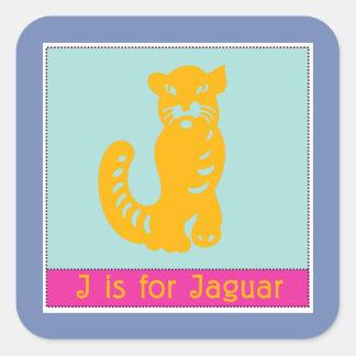 J Is For Jaguar Animal Alphabet for Kids Square Sticker