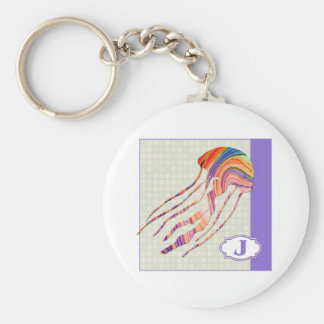 J is for Jellyfish Basic Round Button Key Ring