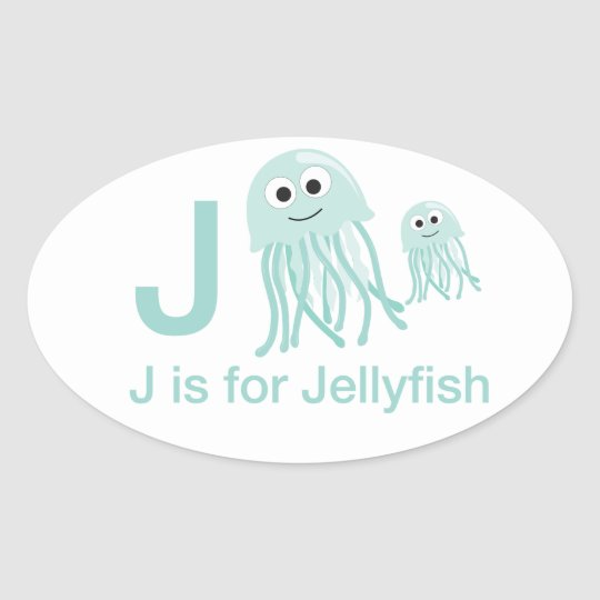 J is for Jellyfish Oval Sticker