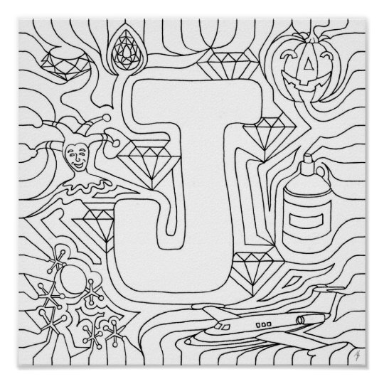 J Is For Jewels Colour In Letter Poster